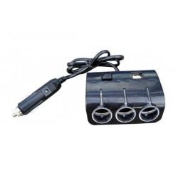 roztrojka do zapalovače, 2x USB + vypínač, kabel