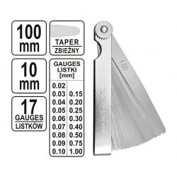 měrky spárové, ventilové 0,02-1,00 mm 17 plátků
